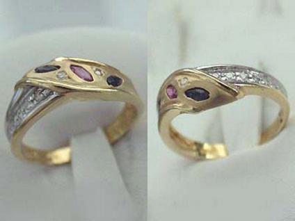 Eleganter Goldring 585 mit Brillanten + Rubin + Saphir - Ring Gold - Damenring