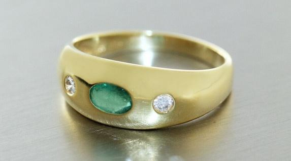 Goldring 585 Allianzring Smaragd und Brillanten 0, 10 ct Damen Ring RW 55 - Vorschau 3