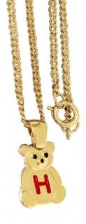 Kinderkette Gold Anhänger Teddybär Buchstabe H - Goldkette Panzerkette vergoldet