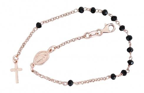 Rosenkranz Armband Silber 925 Rotgold vergoldet mit schwarzen Perlen Kreuz Maria