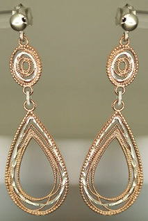 Tropfen Ohrhänger Silber 925 vergoldet - Ohrstecker - lange Silberohrhänger Gold