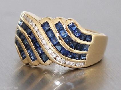 Ring Gold 750 mit Brillant und Saphir - Goldring Damenring Saphirring Brillanten