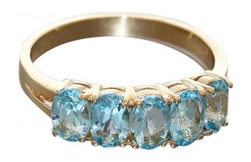 Goldring 750 mit Blautopas Damenring 18 Karat eleganter Ring RW 59