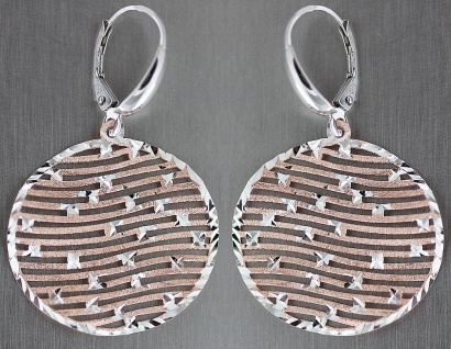 Gewellte runde Ohrhänger Silber 925 Rotgold vergoldet Ohrringe Gold geschliffen