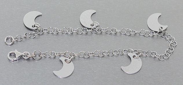 Silbermond Armband Silber 925 Silberarmband Bettelarmband Mond Anhänger Armkette