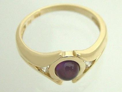Edler Ring Gold 585 - Goldring mit Amethyst Cabochon eleganter Damenring massiv