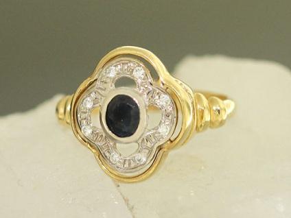 Klassischer Ring mit Saphir und Zirkonia Goldring 585 Damenring Ring Gold 14 Kt