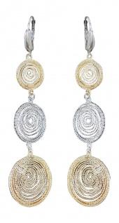 Elegante Lange Ohrhänger Silber 925 Gold bicolor Ohrringe 7 cm langer Ohrschmuck