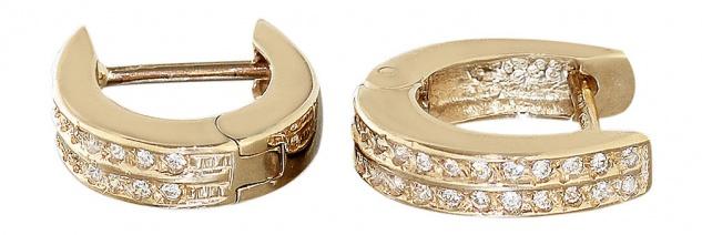 Massive Klappcreolen Gold 585 mit Zirkonias Creolen Goldohrringe - Ohrringe 14kt