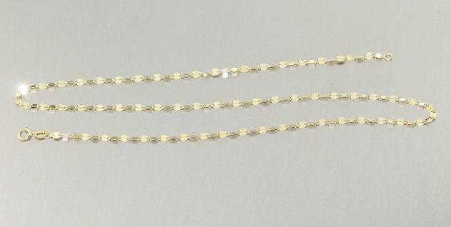 Goldkette 585 funkelnde Plättchenkette Halskette 50 cm Kette Gelbgold Collier