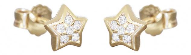 Kleine Stern Ohrstecker Gold 585 mit Zirkonias Ohrringe Gelbgold 14 Kt Sternchen
