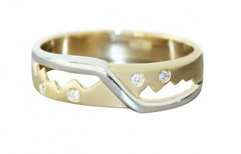 Ring Gold 585 bicolor mit 4 Brillanten moderner Goldring 14 Kt. Damenring RW 57