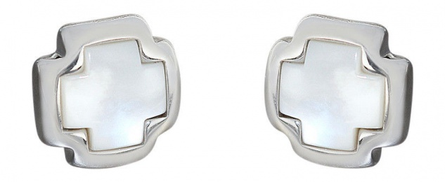Große Kreuz Ohrstecker Silber 925 mit Perlmutt Ohrschmuck Ohrringe