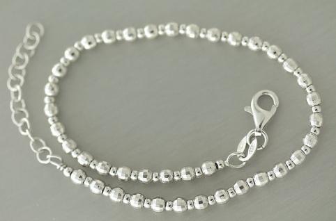 Massives Armband Silber 925 Facettiertes Kugelarmband Armkette Silberarmband
