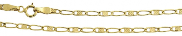 50 cm dekorative flache Goldkette 585 - Halskette - Kette Gold 14 kt - Collier