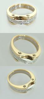 Massiver Brillantring 0, 11 ct. - Goldring 585 bicolor - Ring Gold - Damenring