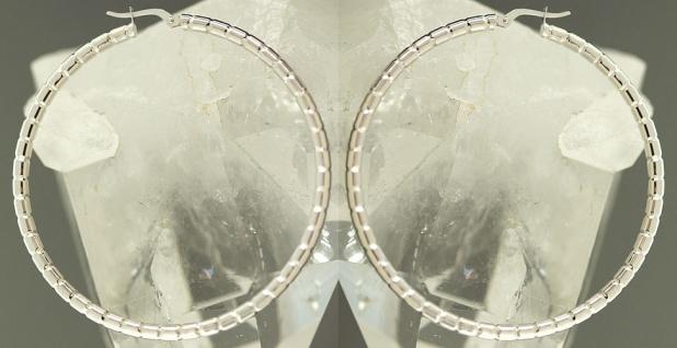 Top Design! 4, 6 cm große Creolen Weißgold 585 - Ohrringe Gold - Weißgoldcreolen