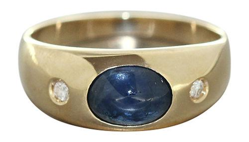 Allianzring Gold 585 m Saphir u. Brillanten Ring Goldring Damenring Brillantring