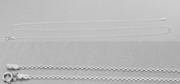 42 45 50 cm massive flache Weißgoldkette 585 - Halskette Weißgold 14 kt Gold