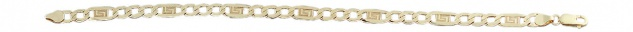 21 cm flaches Goldarmband 585 m. Mäander Muster Panzerarmband Armkette Gold 14kt