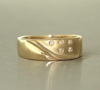 Brillantring Goldring 585 mit 5 Brillanten Ring Gold 14 kt Damenring