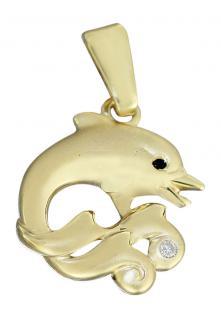 Golddelphin Anhänger Delfin aus Gold 750 mit Diamant bezaubernder Goldanhänger