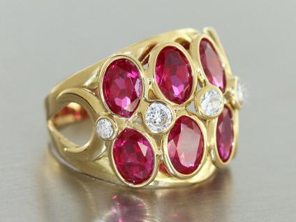 Gold 750 Modischer Ring in 18 kt Gold (750/000) mit rubinroten Kristallen