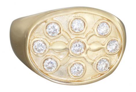 Damenring Gold 585 / 14 kt m. Zirkonias Goldring 7 gr. breiter Ring Gold - RW 57
