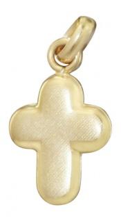 Edles mattiertes Goldkreuz 585 - Anhänger Kreuz - Goldanhänger Kreuz Gold 14 kt