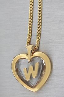Kette Buchstabe W Goldkette pl und Anhänger Herz Kristallherz Panzerkette