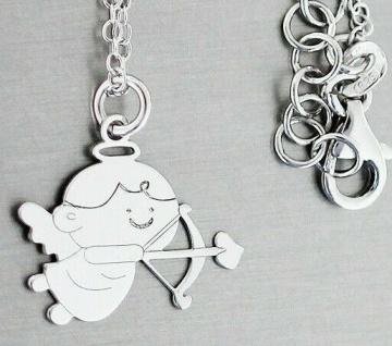Kette Silber 925 Engel Anhänger mit Amorpfeil Silberkette Collier Damen Mädchen