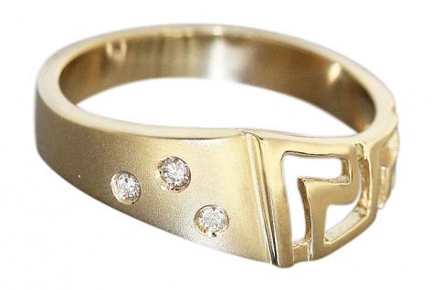 Ring Gold Mäander Muster- Goldring 585 mit Brillanten - Damenring Brillantring