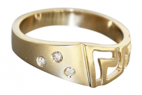 Ring Gold Mäander Muster Goldring 585 mit Brillanten Damenring Brillantring