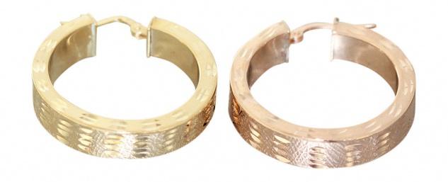 Breite Creolen Silber 925 Gold od. Rotgold vergoldet funkelnde Ohrringe Rosegold