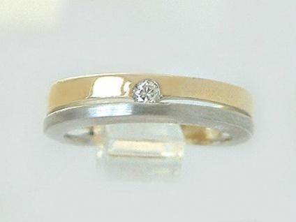 Brillantring Gold 585 bicolor Ring Brillant Solitär Goldring Damenring