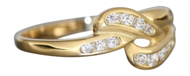 Eleganter Goldring 750 - Ring echt Gold 18 kt mit Zirkonias - edler Damenring