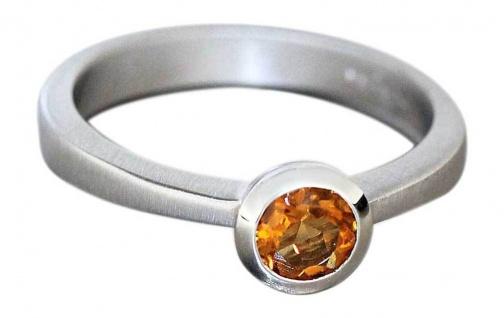 Massiver Ring Weißgold 585 mit Citrin Weißgoldring Solitärring 14 KT Damenring