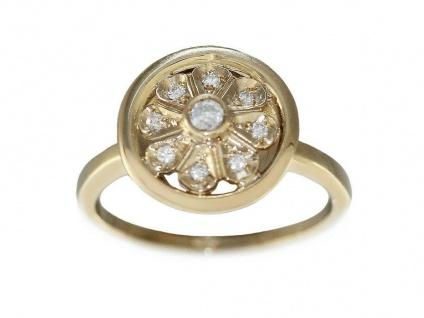 Brillantring Gold 585 Damenring Blume mit Brillanten Goldring 14 Karat