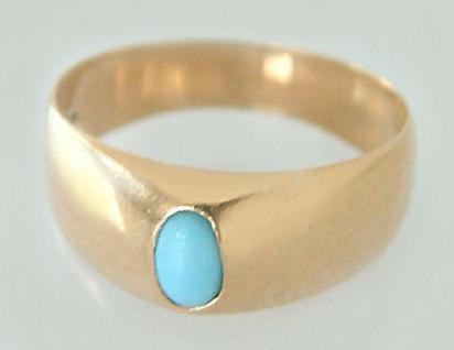 Goldring 585 um 1900 - Ring mit Türkis - Fuchskopfpunze - antiker Ring Gold 14kt - Vorschau