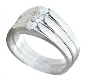 Ring Weißgold 750 Brillanten 0, 21 ct dreiteilig Weißgoldring 18 Kt Damen RW 55