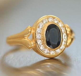 Klassischer Goldring 750 mit Saphir und Zirkonia Ring echt Gold 18 kt Saphirring