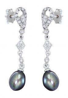 Langer Ohrschmuck Weißgold 585 graue Perlen Ohrstecker Ohrhänger Ohrringe Gold