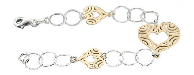 Silberarmband 925 mit Herzen Gold Armband Silber Herz vergoldet Armkette