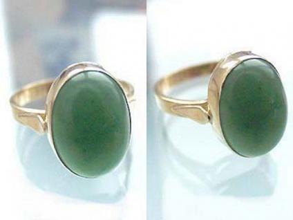 Klassischer Ring Gold 750 mit Jade Cabochon Goldring 18 kt Damenring Jadering