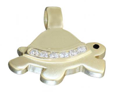Anhänger Schilkröte Gold 750 mit Zirkonia - Goldanhänger 18 kt - Goldschildkröte