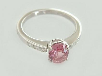 Brillantring Weißgold 585 mit pink Turmalin - Ring Weißgold - Goldring 14 Karat