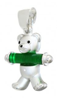 Teddybär Anhänger Silber 925 mit Stab in rot oder grün Teddy Silberanhänger Bär