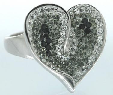 Herz in Schwarz Weiß großer Silberring 925 m Zirkonias Ring Silber tolle Optik