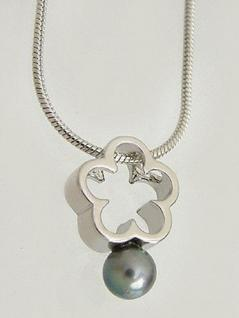 Silber 925 Schlangenkette und Anhänger Blume mit grauer Perle Silberkette