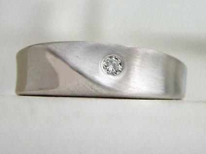 Silberring 925 mit Zirkonia - breiter Ring Silber mattiert - Damenring